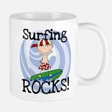 Boy Surfing Rocks Mug