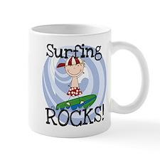 Boy Surfing Rocks Mug