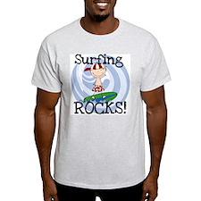 Boy Surfing Rocks T-Shirt