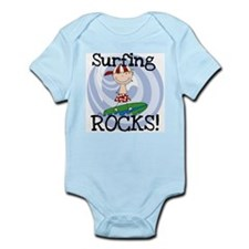 Boy Surfing Rocks Infant Bodysuit