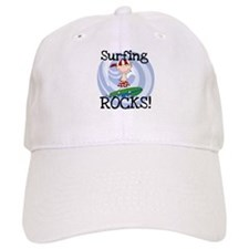 Boy Surfing Rocks Baseball Cap