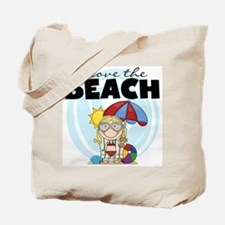 Blond Girl Love the Beach Tote Bag