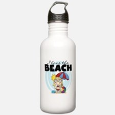 Blond Girl Love the Beach Water Bottle