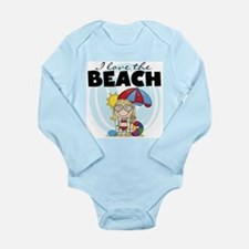 Blond Girl Love the Beach Long Sleeve Infant Bodys