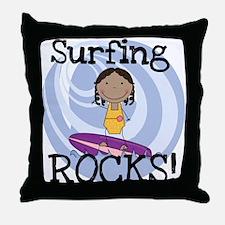 AA Girl Surfing Rocks Throw Pillow