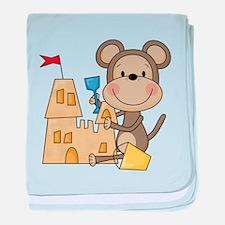 Monkey Builds Sand Castle baby blanket