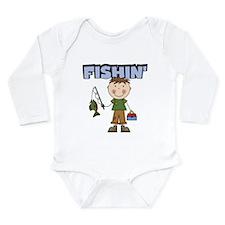Stick Figure Boy Fishin' Long Sleeve Infant Bodysu