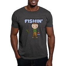 Stick Figure Boy Fishin' T-Shirt