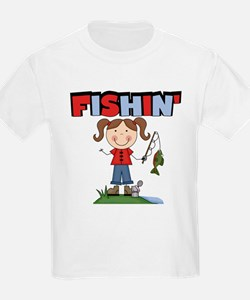 Stick Figure Girl Fishin' T-Shirt