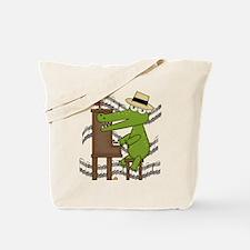Crocodile at Piano Tote Bag
