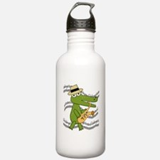 Crocodile With Saxophone Water Bottle