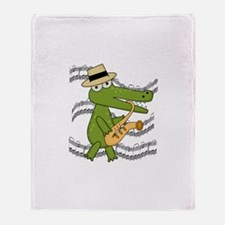 Crocodile With Saxophone Throw Blanket
