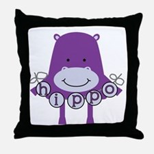 Cartoon Hippo Throw Pillow