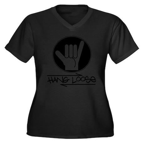 Hang Loose Women's Plus Size V-Neck Dark T-Shirt