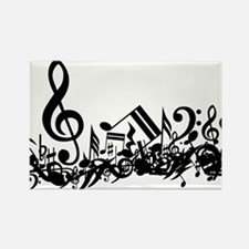 Mixed Musical Notes (black) Rectangle Magnet (100