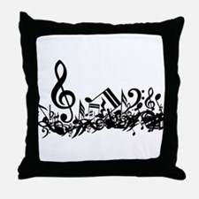 Mixed Musical Notes (black) Throw Pillow