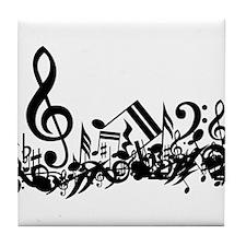 Mixed Musical Notes (black) Tile Coaster