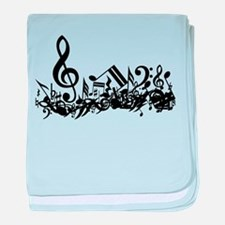 Mixed Musical Notes (black) baby blanket