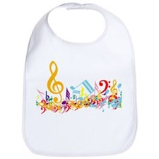 Colorful musical notes Bib