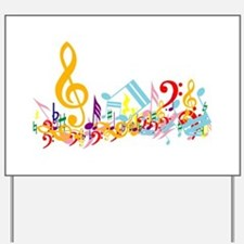 Colorful musical notes Yard Sign