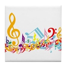 Colorful musical notes Tile Coaster