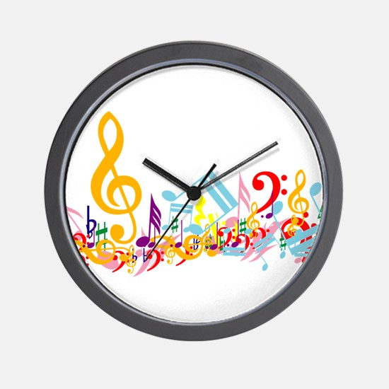 Colorful musical notes Wall Clock
