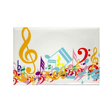 Colorful musical notes Rectangle Magnet (100 pack)