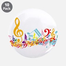 """Colorful musical notes 3.5"""" Button (10 pack)"""