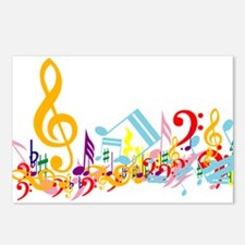 Colorful musical notes Postcards (Package of 8)