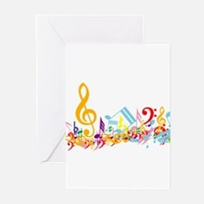 Colorful musical notes Greeting Cards (Pk of 10)