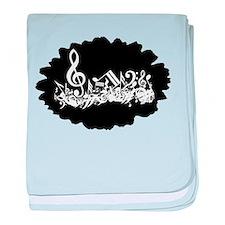 Black Musical notes splat baby blanket