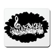 Black Musical notes splat Mousepad