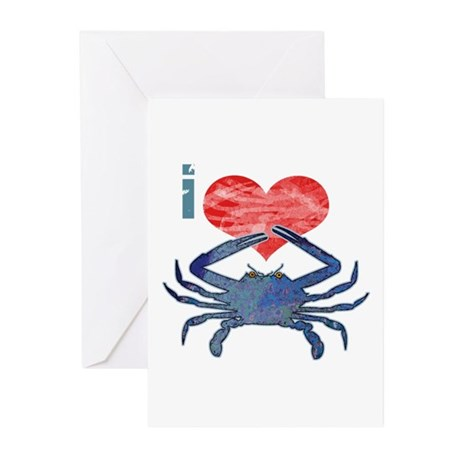 I Love Crab Greeting Cards (Pk of 10)