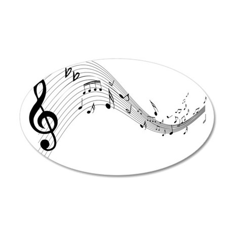 Mixed Musical Notes (black) 22x14 Oval Wall Peel