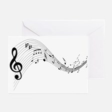 Mixed Musical Notes (black) Greeting Cards (Pk of