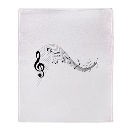 Mixed Musical Notes (black) Throw Blanket