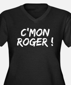 C'MON ROGER Women's Plus Size V-Neck Dark T-Shirt
