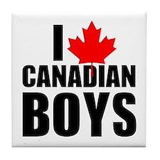 I Heart Canadian Boys Tile Coaster