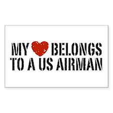 My Heart Belongs To A US Airman Decal