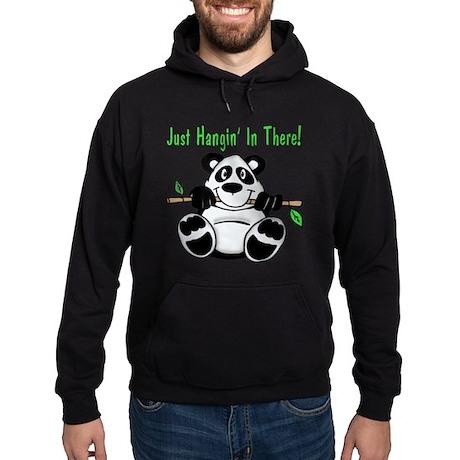 Hanging In There Panda Bear Hoodie (dark)