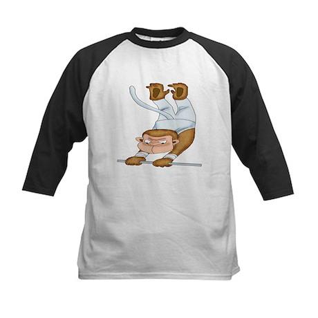Monkey Gymnist Kids Baseball Jersey