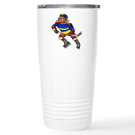 Monkey Hockey Player Stainless Steel Travel Mug