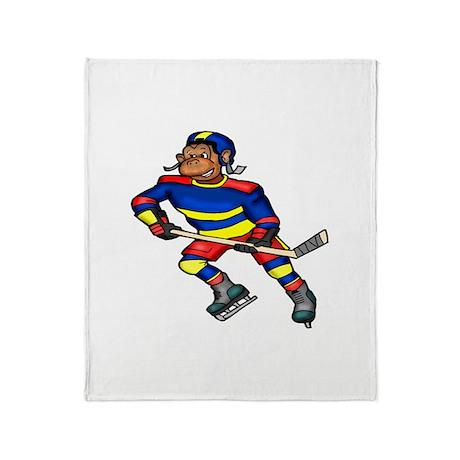 Monkey Hockey Player Throw Blanket