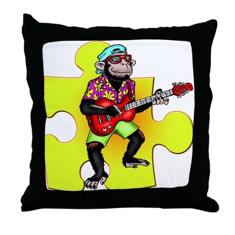 Rock and Roll Monkey Throw Pillow