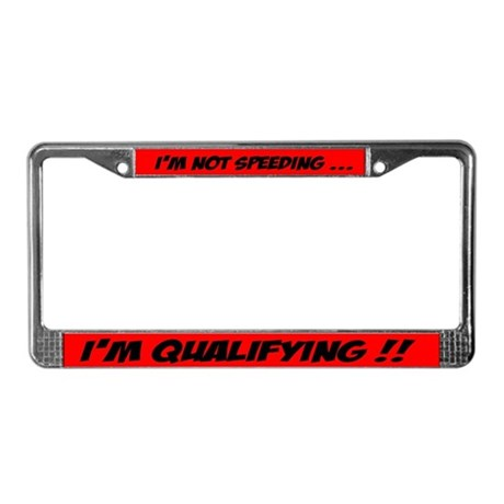speeding license plate frame
