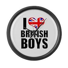 I Heart British Boys Large Wall Clock