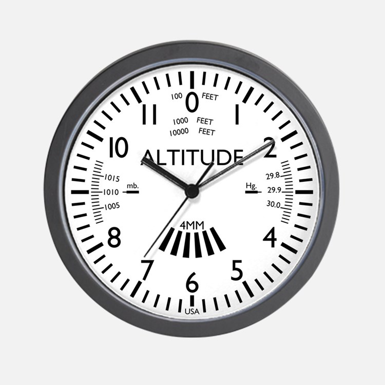 Aviation Altimeter Wall Clock (white)