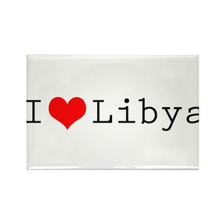 I (lheart) Libya Rectangle Magnet