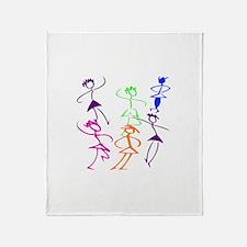 Stick Figures Dancers Throw Blanket