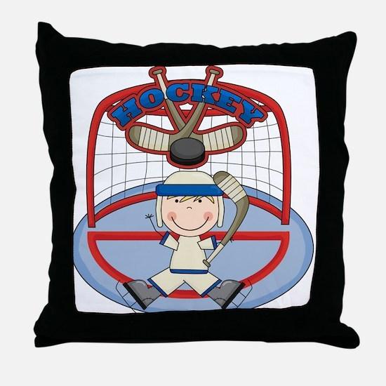 Stick Figure Hockey Goalie Throw Pillow